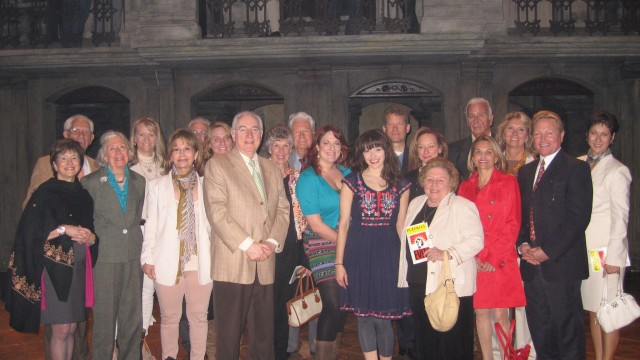 Inner Circle members pose with Christina DeCicco '02, who plays the role of Eva Peron in Evita on Broadway.