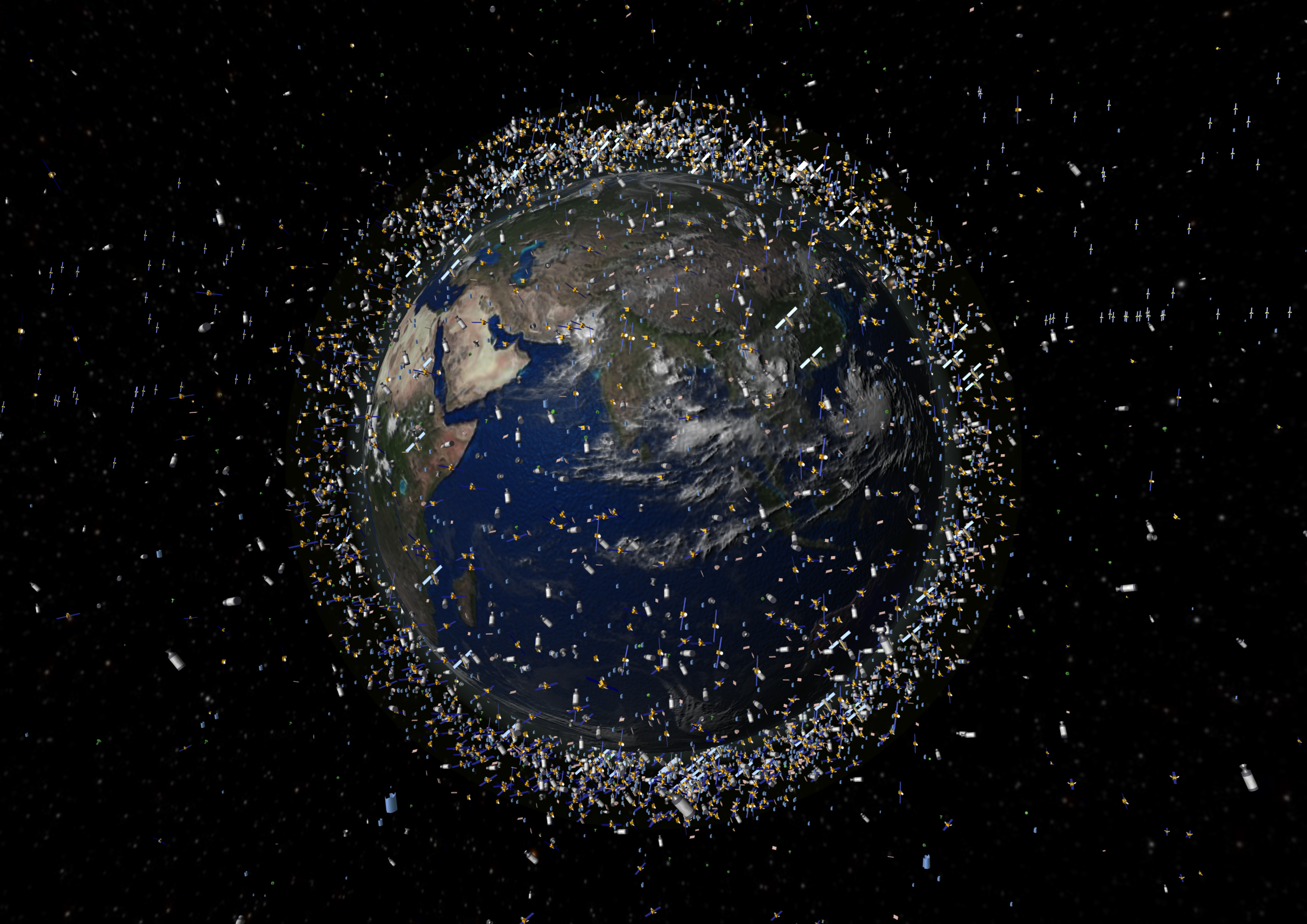 a graphic showing the number of satellites currently in orbit