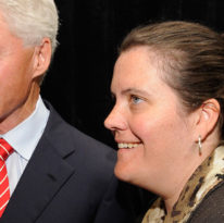 Laura Graham served as Bill Clinton's chief of staff during his post-presidency; she was also chief operating officer of the Clinton Foundation. Here, Graham and Clinton are pictured after a campaign rally for then-Congressman Michael McMahon, held at Wagner College, in September 2010.