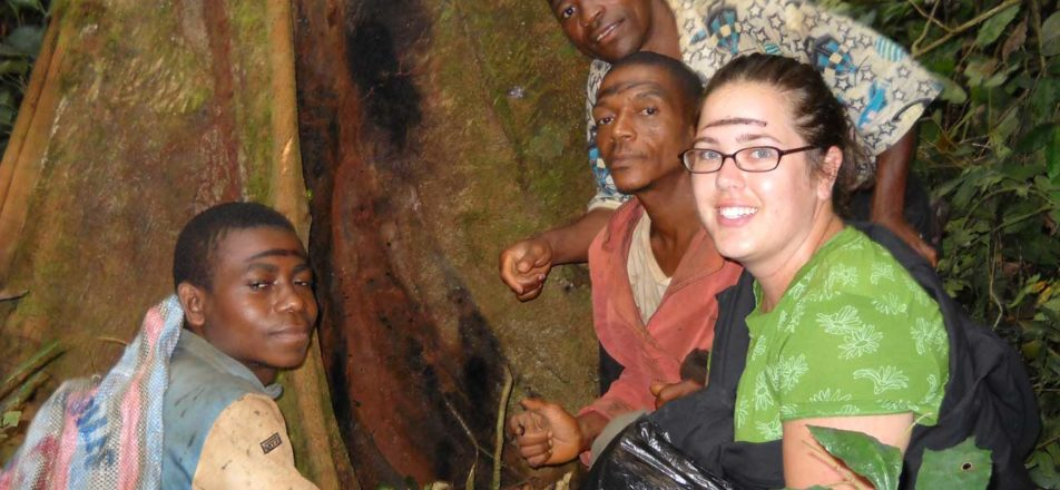 Jessica with three Cameroonian men.
