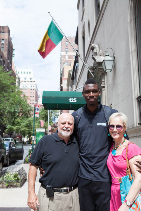 Naofall Folahan '14 with Henry '71 and Beth '71 Cruz at the Benin Consulate in New York