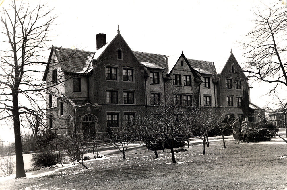A photo of the dormitory now known as Parker Hall.