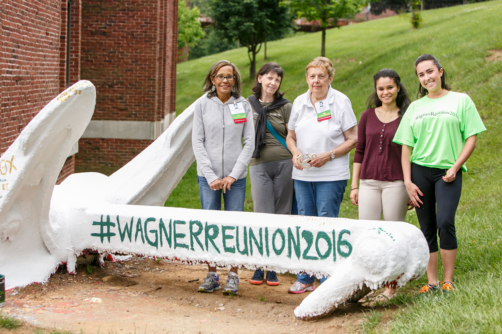 Five women stand in front of the Wagner anchor at Reunion 2016.