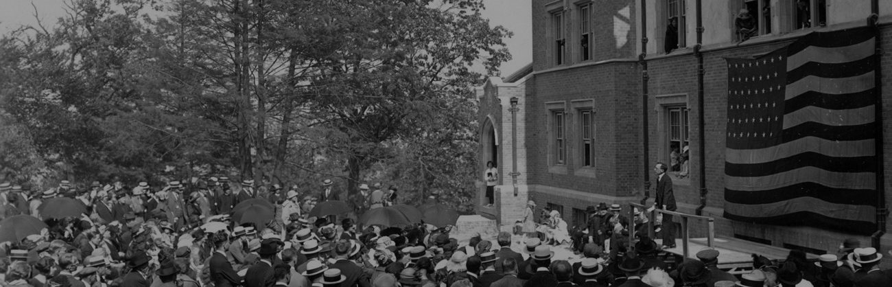 Dedication of the New Dormitory (Parker Hall) in 1932.