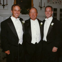 Alex, Don, and Graham wearing tuxedos.