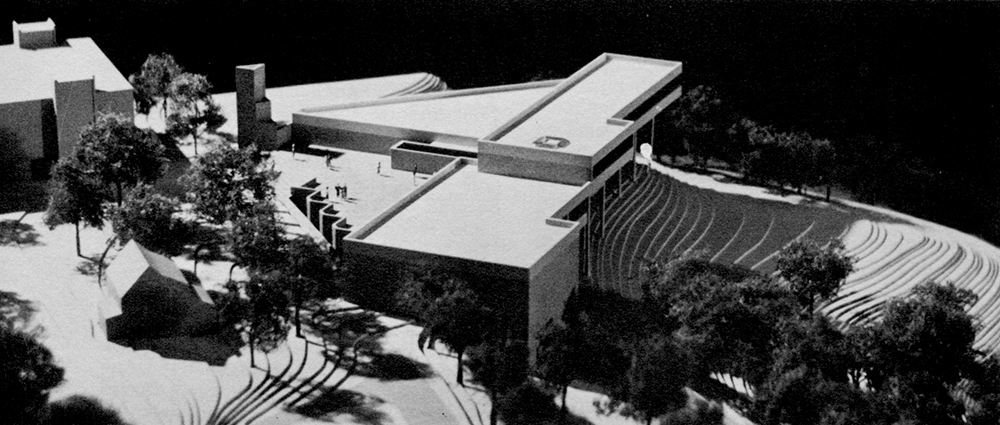 A black-and-white photo of an architect's mockup of the Wagner Union.