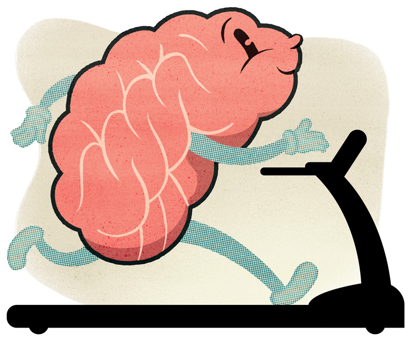 cartoon of a brain in the shape of a human running on a treadmill